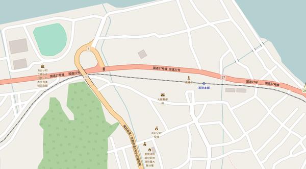 若狭本郷駅付近の県道ループ地図