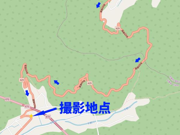 国道429号榎峠地図矢印入り2