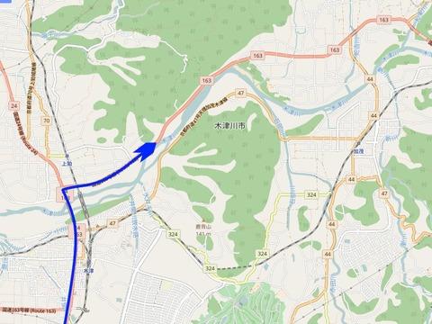 国道163号木津川周辺地図矢印入り