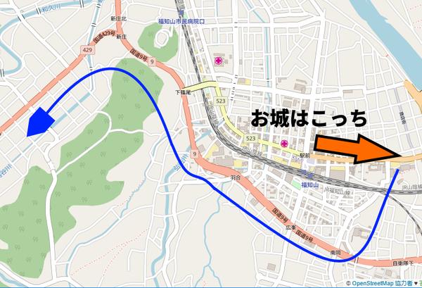 福知山城から国道429号への地図